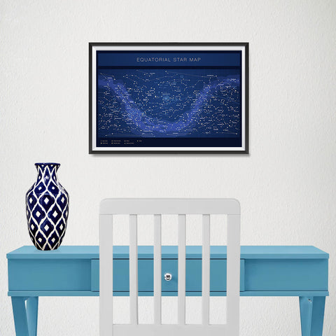 Ezposterprints - Equatorial Star Map - Blue Poster - 18x12 ambiance display photo sample