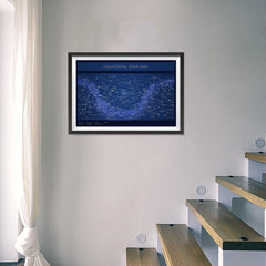 Ezposterprints - Equatorial Star Map - Blue Poster - 24x16 ambiance display photo sample