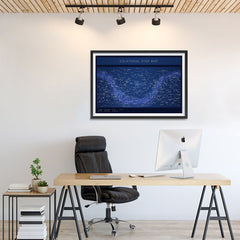 Ezposterprints - Equatorial Star Map - Blue Poster - 36x24 ambiance display photo sample