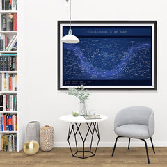 Ezposterprints - Equatorial Star Map - Blue Poster - 48x32 ambiance display photo sample