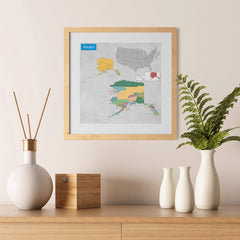 Ezposterprints - Alaska (AK) State - General Reference Map - 12x12 ambiance display photo sample
