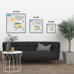 Ezposterprints - Alaska (AK) State - General Reference Map ambiance display photo sample