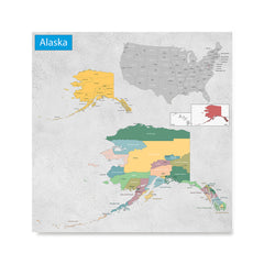 Ezposterprints - Alaska (AK) State - General Reference Map