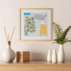 Ezposterprints - Alabama (AL) State - General Reference Map - 12x12 ambiance display photo sample