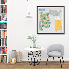 Ezposterprints - Alabama (AL) State - General Reference Map - 32x32 ambiance display photo sample