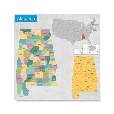 Ezposterprints - Alabama (AL) State - General Reference Map