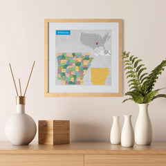 Ezposterprints - Arkansas (AR) State - General Reference Map - 12x12 ambiance display photo sample