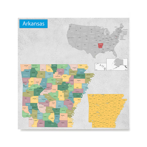 Ezposterprints - Arkansas (AR) State - General Reference Map