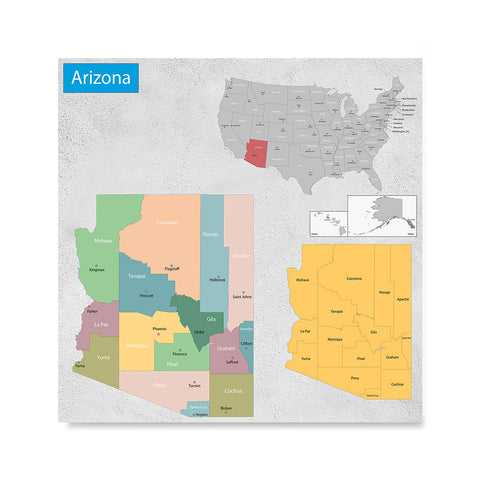 Ezposterprints - Arizona (AZ) State - General Reference Map
