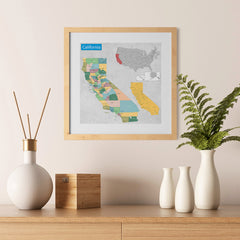 Ezposterprints - California (CA) State - General Reference Map - 12x12 ambiance display photo sample