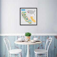 Ezposterprints - California (CA) State - General Reference Map - 16x16 ambiance display photo sample