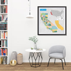 Ezposterprints - California (CA) State - General Reference Map - 32x32 ambiance display photo sample