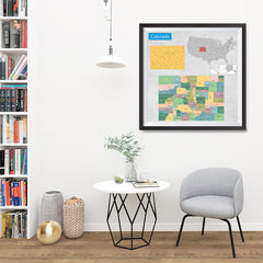 Ezposterprints - Colorado (CO) State - General Reference Map - 32x32 ambiance display photo sample