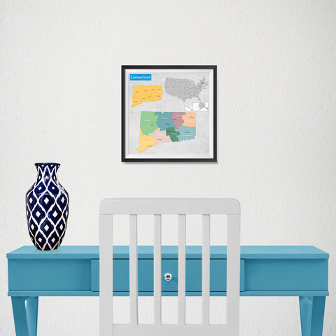 Ezposterprints - Connecticut (CT) State - General Reference Map - 10x10 ambiance display photo sample