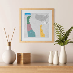 Ezposterprints - Delaware (DE) State - General Reference Map - 12x12 ambiance display photo sample