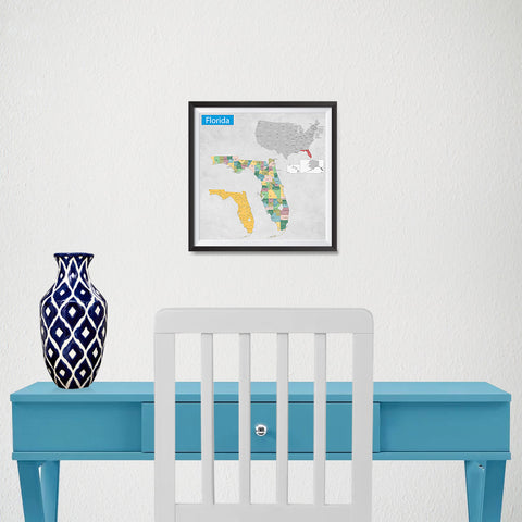 Ezposterprints - Florida (FL) State - General Reference Map - 10x10 ambiance display photo sample