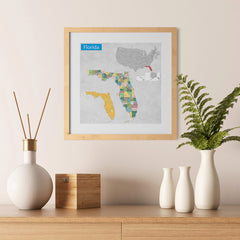 Ezposterprints - Florida (FL) State - General Reference Map - 12x12 ambiance display photo sample