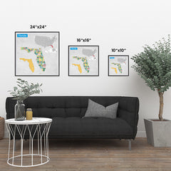 Ezposterprints - Florida (FL) State - General Reference Map ambiance display photo sample