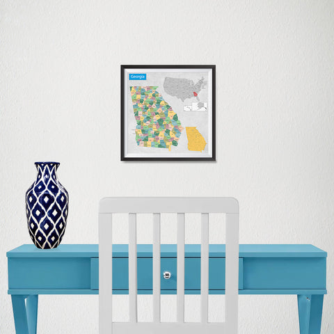 Ezposterprints - Georgia (GA) State - General Reference Map - 10x10 ambiance display photo sample