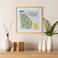 Ezposterprints - Georgia (GA) State - General Reference Map - 12x12 ambiance display photo sample