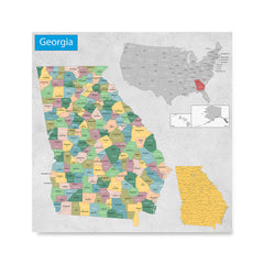 Ezposterprints - Georgia (GA) State - General Reference Map