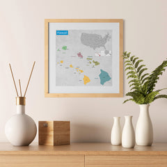 Ezposterprints - Hawaii (HI) State - General Reference Map - 12x12 ambiance display photo sample