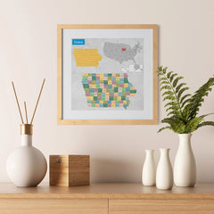 Ezposterprints - Iowa (IA) State - General Reference Map - 12x12 ambiance display photo sample
