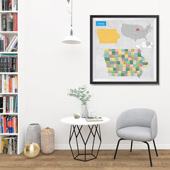 Ezposterprints - Iowa (IA) State - General Reference Map - 32x32 ambiance display photo sample