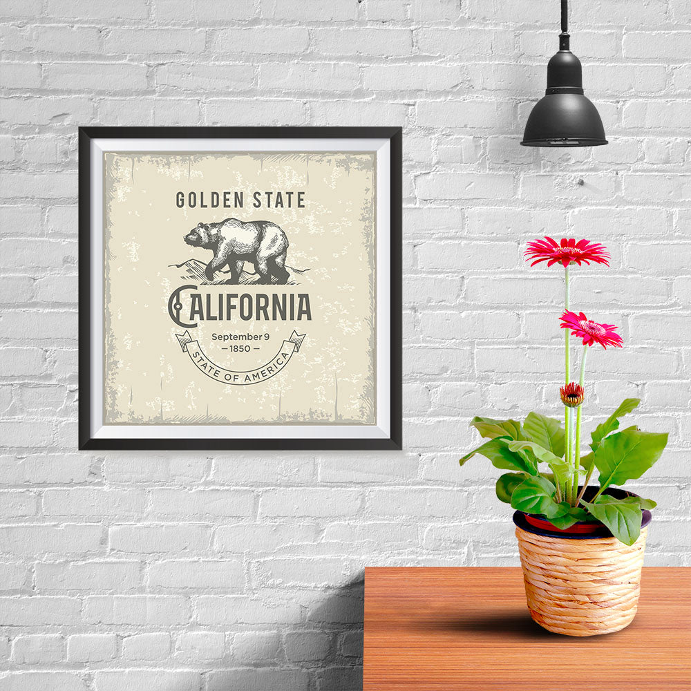Ezposterprints - California (CA) State Icon - 10x10 ambiance display photo sample