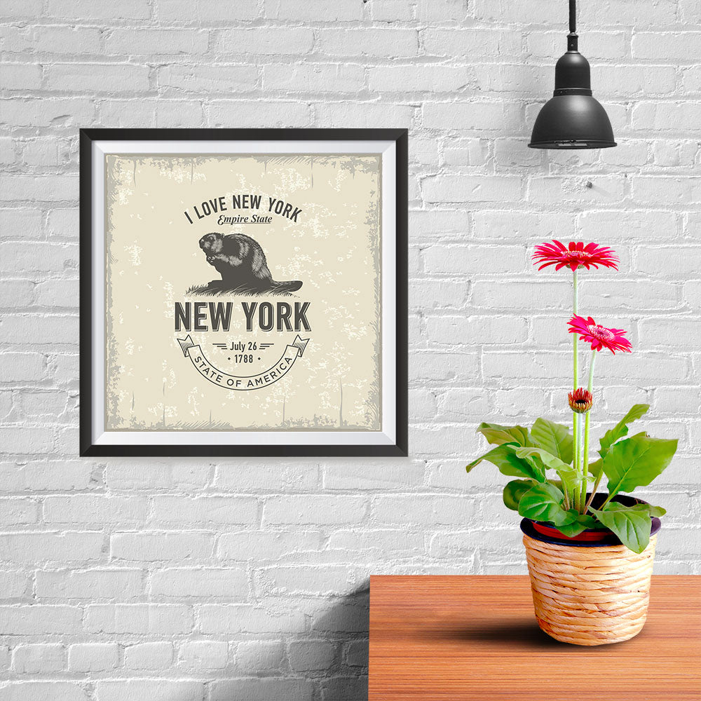 Ezposterprints - New York (NY) State Icon - 10x10 ambiance display photo sample