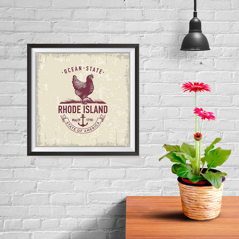 Ezposterprints - Rhode Island (RI) State Icon - 10x10 ambiance display photo sample