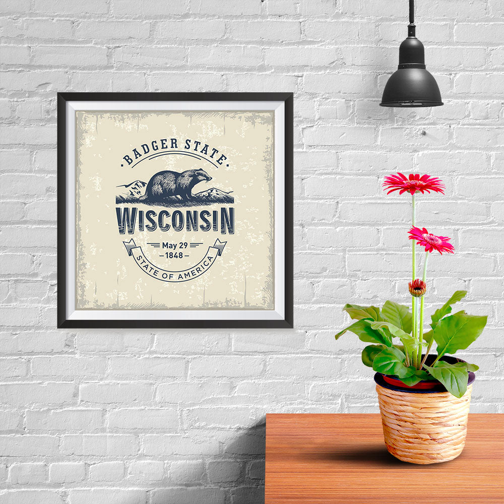Ezposterprints - Wisconsin (WI) State Icon - 10x10 ambiance display photo sample