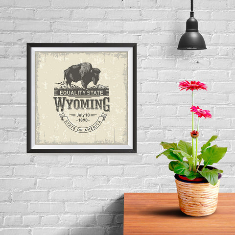 Ezposterprints - Wyoming (WY) State Icon - 10x10 ambiance display photo sample