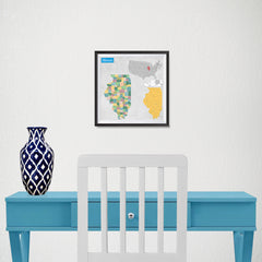 Ezposterprints - Illinois (IL) State - General Reference Map - 10x10 ambiance display photo sample