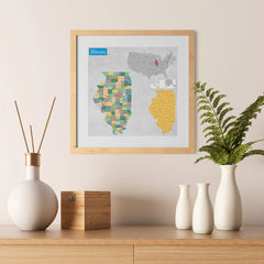Ezposterprints - Illinois (IL) State - General Reference Map - 12x12 ambiance display photo sample