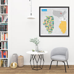 Ezposterprints - Illinois (IL) State - General Reference Map - 32x32 ambiance display photo sample