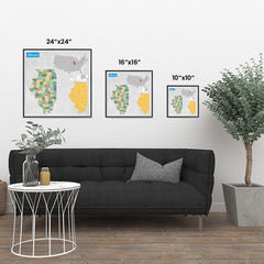 Ezposterprints - Illinois (IL) State - General Reference Map ambiance display photo sample