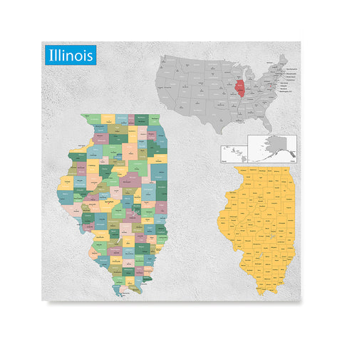 Ezposterprints - Illinois (IL) State - General Reference Map
