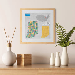Ezposterprints - Indiana (IN) State - General Reference Map - 12x12 ambiance display photo sample
