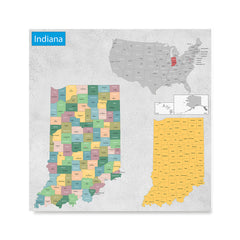 Ezposterprints - Indiana (IN) State - General Reference Map