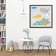 Ezposterprints - Kentucky (KY) State - General Reference Map - 32x32 ambiance display photo sample