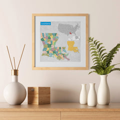 Ezposterprints - Louisiana (LA) State - General Reference Map - 12x12 ambiance display photo sample