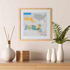 Ezposterprints - Massachusetts (MA) State - General Reference Map - 12x12 ambiance display photo sample
