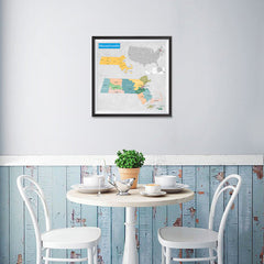Ezposterprints - Massachusetts (MA) State - General Reference Map - 16x16 ambiance display photo sample