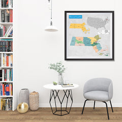 Ezposterprints - Massachusetts (MA) State - General Reference Map - 32x32 ambiance display photo sample