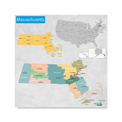 Ezposterprints - Massachusetts (MA) State - General Reference Map