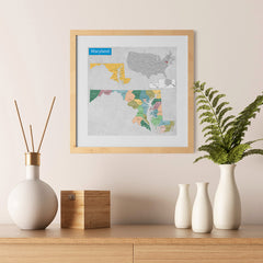 Ezposterprints - Maryland (MD) State - General Reference Map - 12x12 ambiance display photo sample