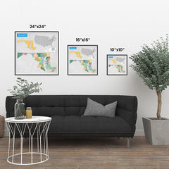 Ezposterprints - Maryland (MD) State - General Reference Map ambiance display photo sample
