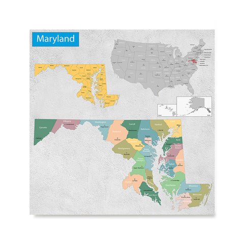 Ezposterprints - Maryland (MD) State - General Reference Map