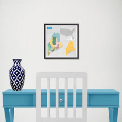 Ezposterprints - Maine (ME) State - General Reference Map - 10x10 ambiance display photo sample